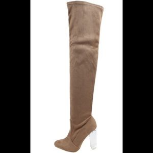 Shoes - Taupe Over the knee lucite clear heel boot